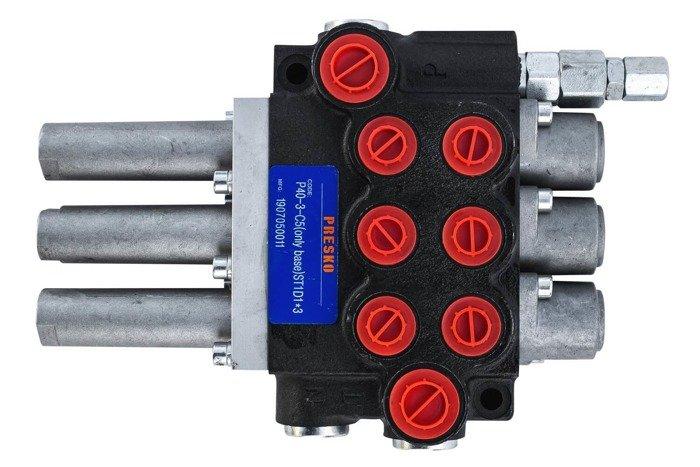 Rozdzielacz hydrauliczny P40 3 sekcyjny 40 L sterowany Joystickiem